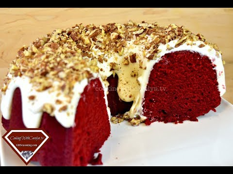 BEST RED VELVET CREAM CHEESE POUND CAKE W/ WHIPPED CREAM CHEESE FROSTING |CookingWithCarolyn