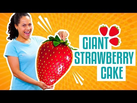 How To Make A GIANT STRAWBERRY Out Of Pink Vanilla CAKE & Fondant | Yolanda Gampp | How To Cake It