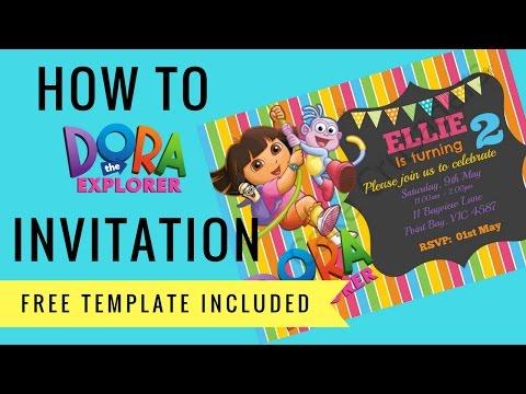 How to make Dora the Explorer Digital Invitation | FREE template incl