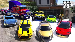 GTA 5 - Stealing TRANSFORMERS Movie Vehicles with Franklin! (Real Life Cars #98)