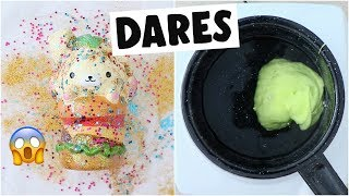 EXTREME SLIME & SQUISHY DARES?! *making butter slime using real butter*