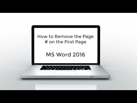 2019 - How to Remove the Page Number from the First Page of MS Word