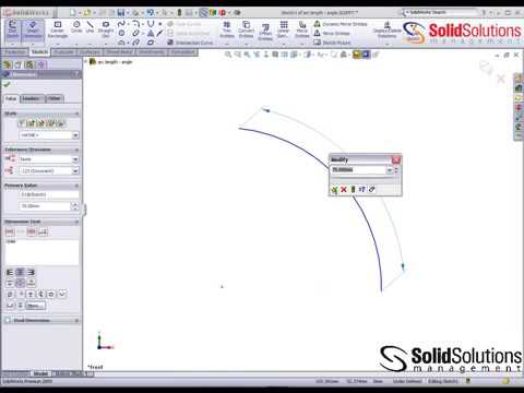 How to create Arc Length and Arc Angle Dimensions in SolidWorks