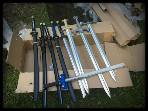 Unboxing TONS of foam swords/katanas from SparkFoam