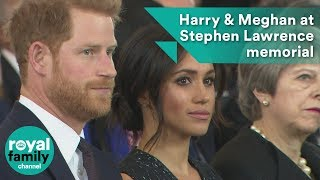 Prince Harry and Meghan Markle at Stephen Lawrence memorial