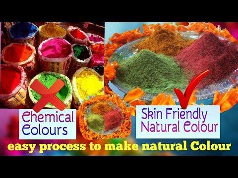 DIY Colour...Natural holi colour making at home...Holi powder making