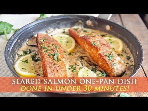 Seared Salmon with Creamy Spinach & Mushroom Sauce
