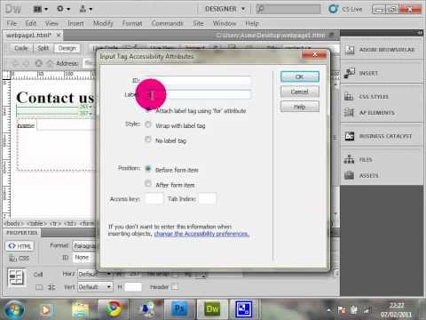 how to create contact us form using Dreamweaver Cs5