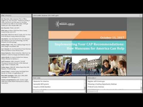 Implementing Your CAP Recommendations: How Museums for America Can Help