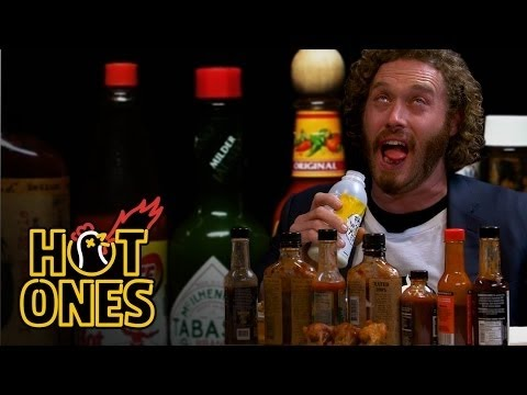 T.J. Miller Talks Deadpool, Hecklers, and Relationship Advice While Eating Spicy Wings   Hot Ones