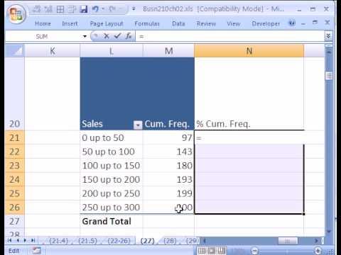 Excel Statistics 26: Cumulative Freq. Dist w Pivot Table (Running Total)