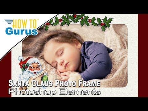 Photoshop Elements Santa Claus Photo Frame 2019 2018 15 14 13 12 11 Christmas Card Templates