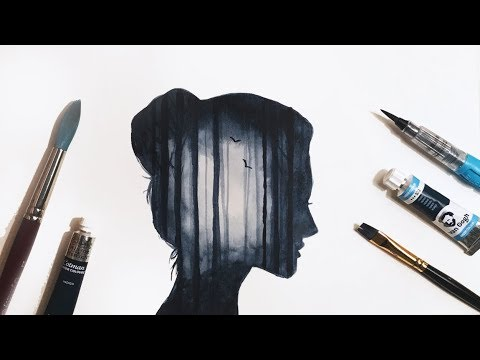 Simple Watercolour Forest Double Exposure Tutorial
