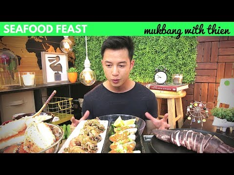 [mukbang with THIEN]: Sea Urchin (Uni/Kina), King Crab, Squid, Dynamite Mussels, and Raw Oysters