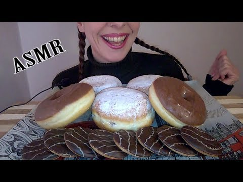 ASMR Dessert: Chocolate covered and Strawberry Jelly filled Donuts |  Jaffa Cakes (NO TALKING)