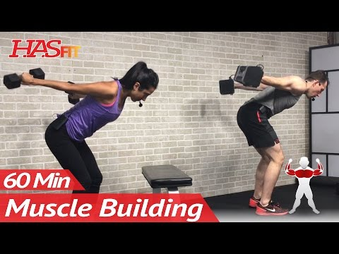 60 Min Upper Body Workout at Home with Dumbbells - Chest and Back Routine Exercises for Women & Men