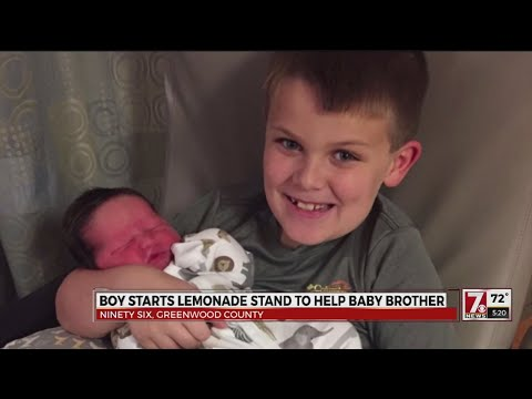 Boy starts lemonade stand to help baby brother