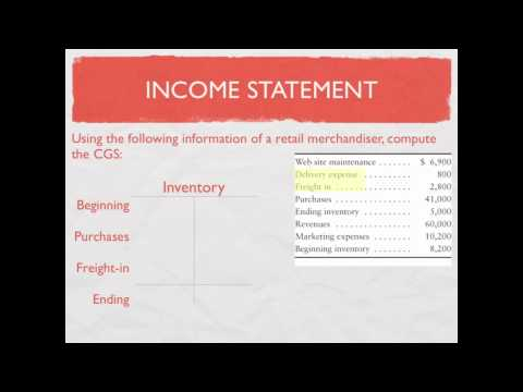 Managerial Accounting: Merchandising Income Statement; Cost of Goods Sold Calculation - video