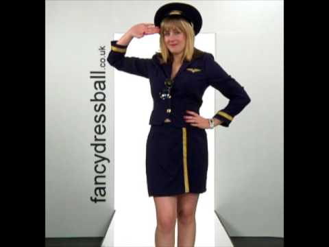 Air Hostess Navy Ladies Fancy Dress Costume