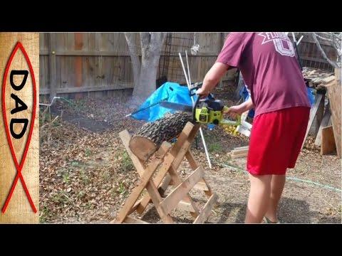 Firewood cutting log holder - cradle