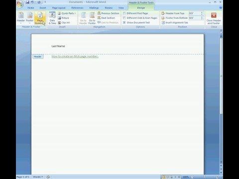 MLA Page Numbers Word 2007