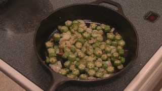 Pan fried okra and onions!