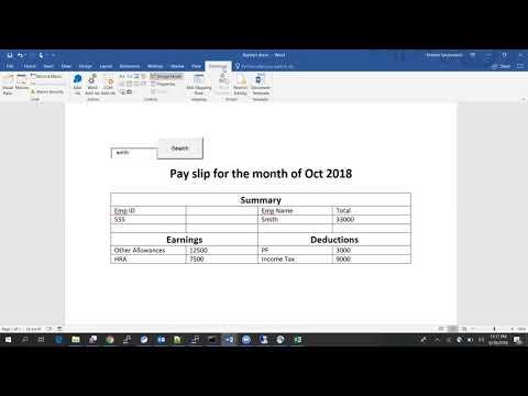 MS word mail merge find record | search record | using VBA Code