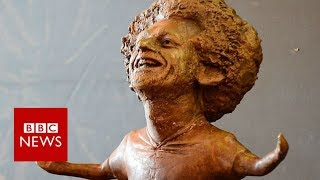 Mo Salah statue causes a stir in Liverpool - BBC News