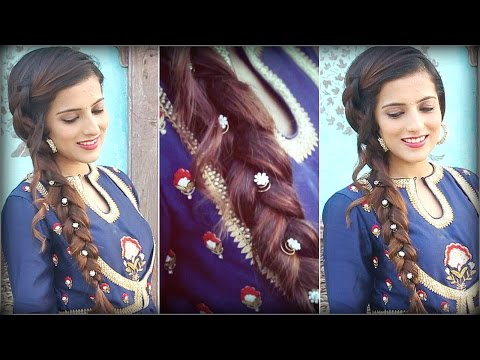 EASY Hairstyle For Indian Wedding Occasions For Medium To Long Hair/ Indian Party Heatless Hairstyle