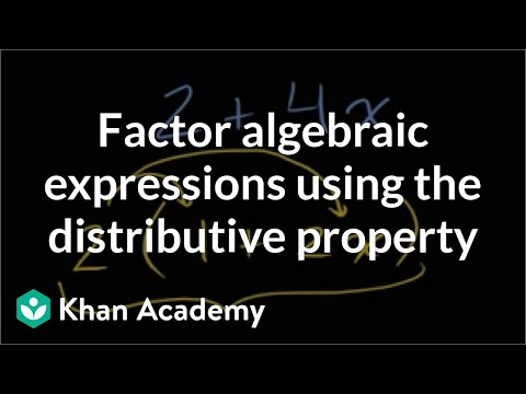 Factoring algebraic expressions using the distributive property | Algebra I | Khan Academy