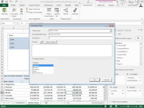 Excel 2013 Create a Calculated Field Using the Calculated Field Dialog Box