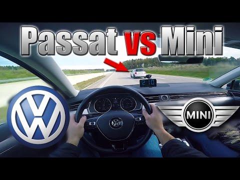 2016 VW Passat vs Mini Cooper- POV Top speed on Autobahn ✔