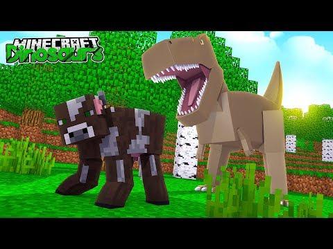 THE T-REX ATTACKS!! - Minecraft Dinosaurs w/ Little Lizard