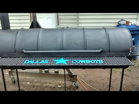 Dallas cowboys double barrel bbq pit
