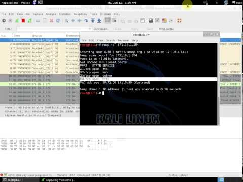 nmap TCP connect() (-sT) scan test and packet analysis with wireshark