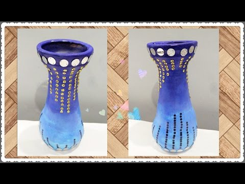 DIY- Sequence work on Pot | Pot Painting | Enjoy Crafting # 45