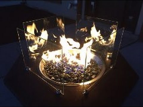 Fire Pit Table with Glass Crystal Fire Glass