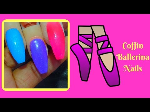 How to Shape Coffin Ballerina Nails with Tips Tutorial