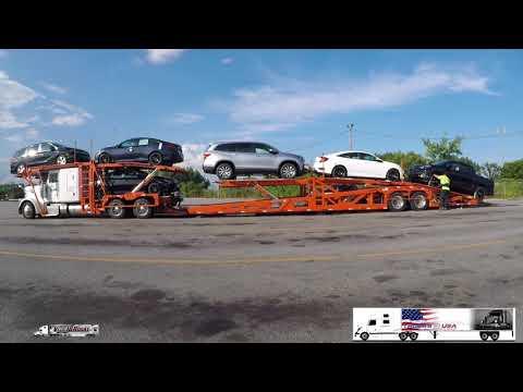 Car Hauler Loading - Time Lapse - Trucks In USA