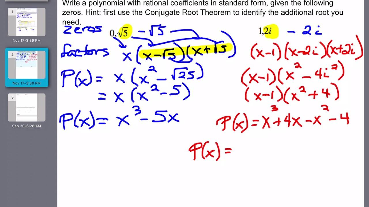 Alg 2 Sec  5 2c Video Notes