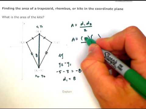 ALEKS: Finding the area of a trapezoid, rhombus, or kite in the coordinate plane (MC)