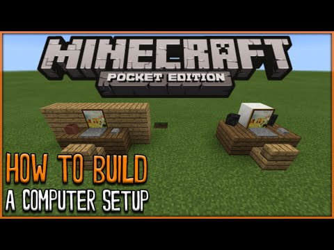 MCPE BUILD TUTORIAL - How To Build A Computer Set-up - Minecraft PE (Pocket Edition)