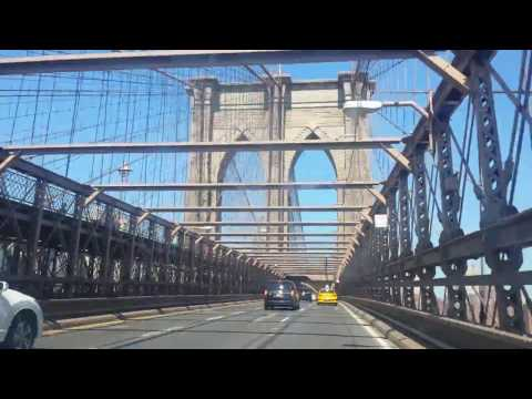 Driving Across New York City's Brooklyn Bridge