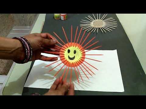 Kids craft-Make a sun using tooth picks