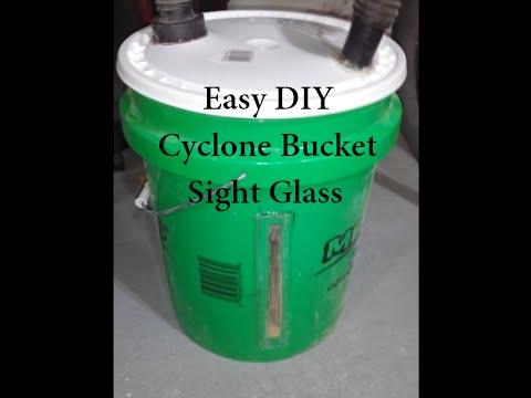 Cyclone bucket sight glass