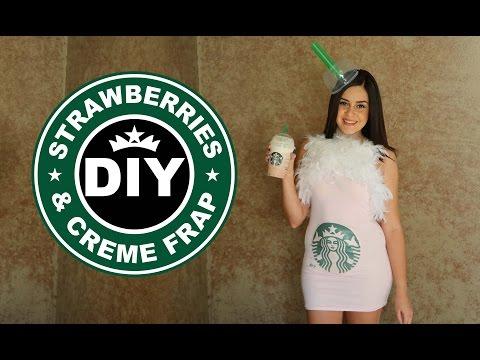 DIY Easy Halloween Costume: Starbucks Strawberries & Creme Frappucino || Lucykiins