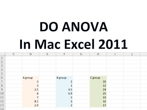 DO ANOVA in Mac Excel 2011