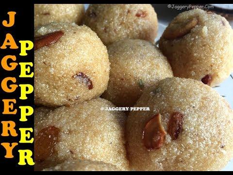 Coconut Rava Ladoo Recipe using Jaggery | Rava Laddu with Coconut | Diwali Recipes