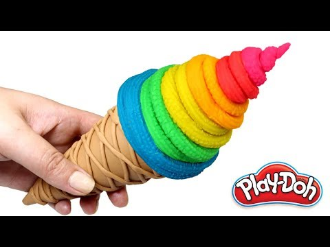 DIY Play Doh Ice Cream Cone Rainbow Ice Cream Making for Kids Play Dough Food Hamburger and Fries