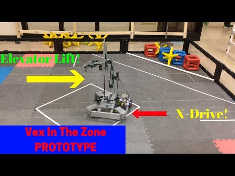 Vex In The Zone PROTOTYPE with X-drive and Elevator Lift!
